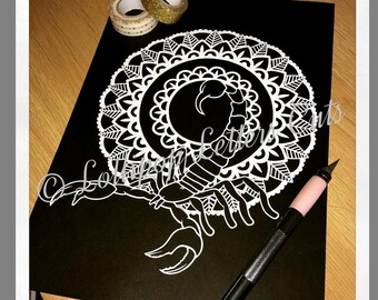 Scorpion DIY Paper Cutting Template, mandala, paisley