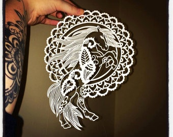 Paisley Horse DIY Paper Cutting Template