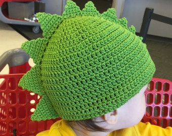 Spiky Dinosaur Hat Pattern (Toddler to Child.) Fits 18-20 inches. Crochet. Instant Download.
