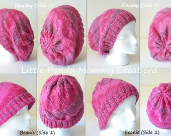 4 in 1 Knitted Reversible Slouchy / Beanie Hat Pattern