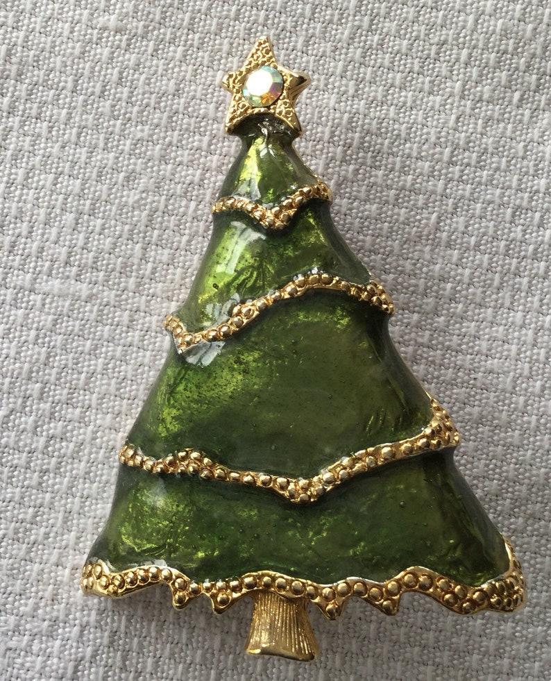 Vintage Christmas tree Brooch Aurora Borealis  Star 2