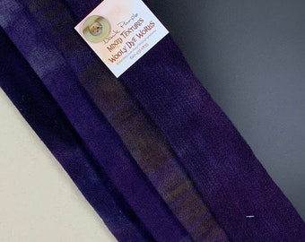 Hand Dyed Felted Wool Fabric with Dark Colors of Violet and Pine Green  Pastel Color  of Soft Green Blue