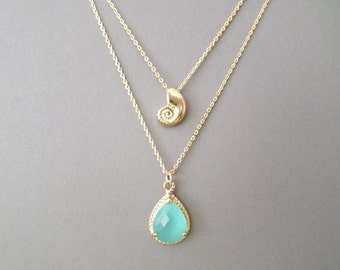 Double strands layered, Ariel, Seachell, Mint, Glass, Gold, Silver, Necklace, Lovers, Friends, Mom, Sister, Christmas, Gift