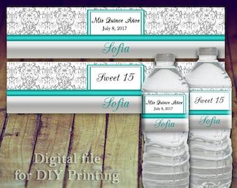 Water Bottle Label - Quinceanera Water Bottle, Sweet 16 Water Bottle Label, Quince Anos, Teal Quinceanera, Quinceanera Favors, Wedding Water
