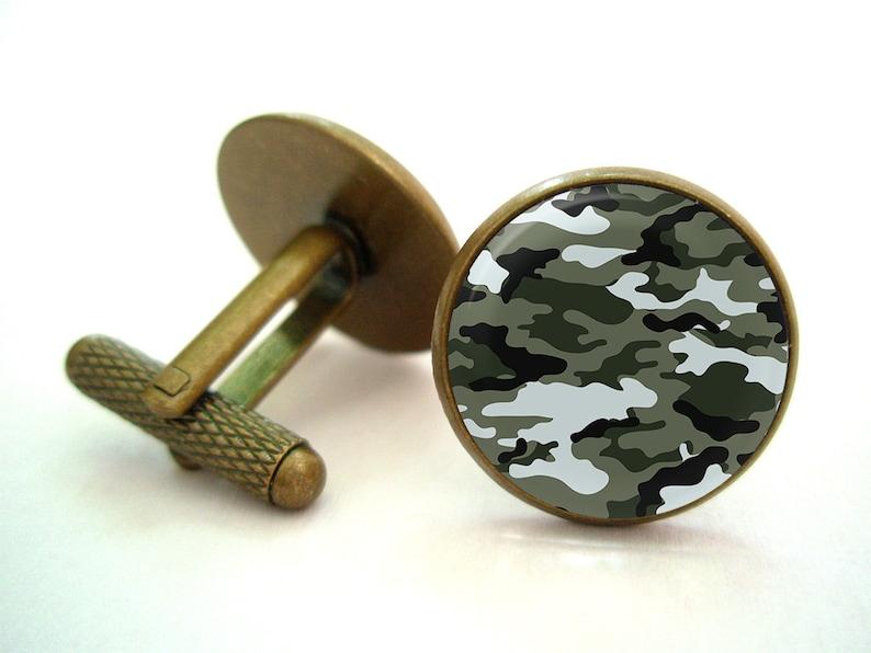Antique.bronze..Silver.tone Camouflage Cufflinks