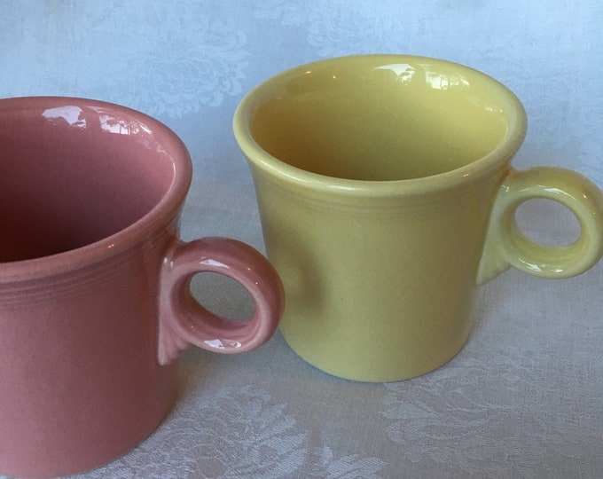 Set/2 Fiestaware Tom and Jerry Cups Pale Yellow and Rose Homer Laughlin Made in USA
