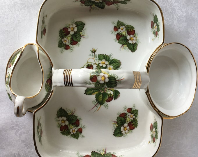 Strawberry Spode Hammersley & Co. Bone China Woven Handled Basket with Open Sugar and Creamer Made in England
