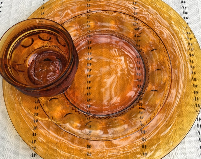 Set/6 Indiana Glass Kings Crown Amber Thumb Print Snack Plate - Cup Set