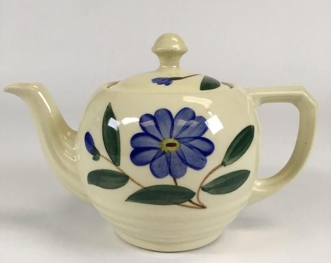 Shawnee Pottery Blue Flower Teapot Vintage 1940s