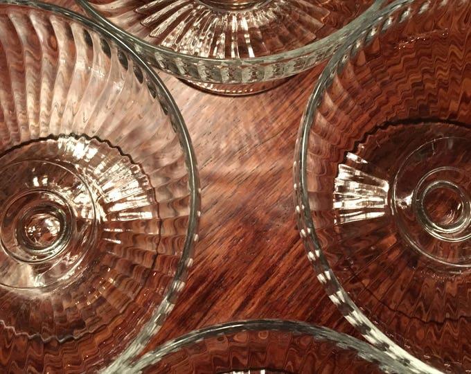 Set/4 Ribbed Low Sherbert - Dessert Glasses