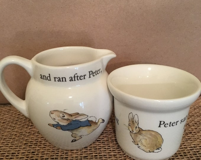 Wedgwood Peter Rabbit Childs Creamer and Egg Cup Nursery Tea Set Pieces Made in England