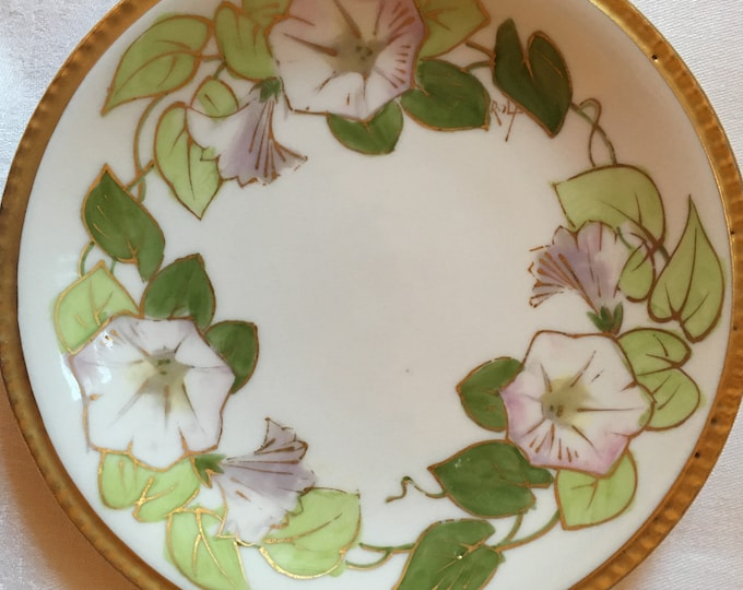 Set/4 Limoges, France Signed Flambeau LOBC Hand Painted Morning Glory Dessert/Bread & Butter Plates