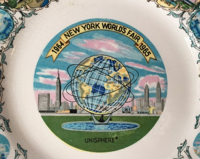 "Vintage 1964-1965 NewYork World's Fair 7"" Unisphere Collector Plate"