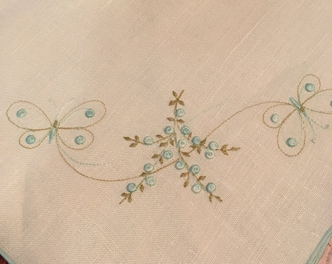 """Vintage Linen Tablecloth With Hand Stitched Florals and Butterflies 40"""" x 38"""""""