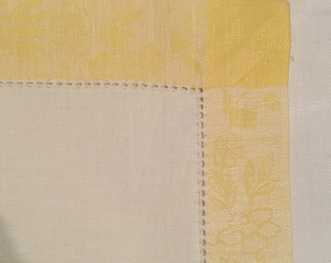 Set/8 Hand Crafted Hemstitched Damask Oversized Placemats with Yellow Border Eastern Europe Linens