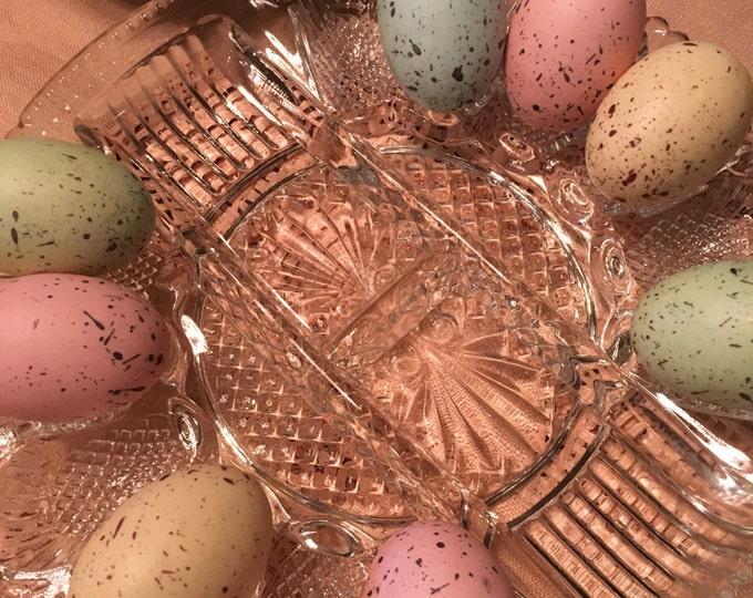 Heavy Pressed Glass Deviled Egg Dish