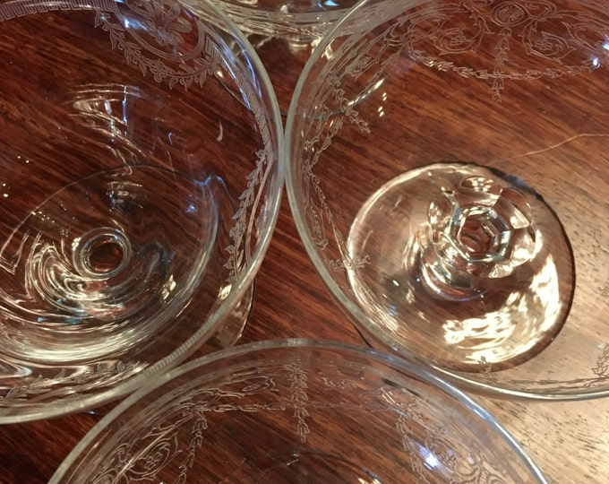 Set/4 Etched Crystal Low Sherbet Glasses
