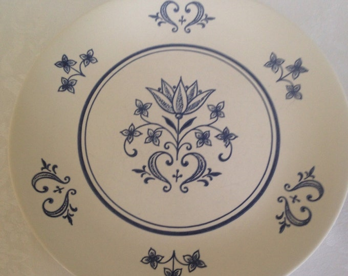 Set/9 Sheffield Provincial Navy & Bone Dinner Plate by Homer Laughlin