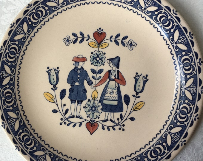 Set/2 Johnson Brothers Old Granite Hearts & Flowers Dinner Plates