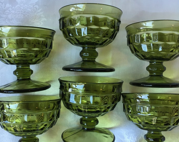 Set/6 Green Indiana Glass Company Whitehall Sherbet Glasses Cube Design