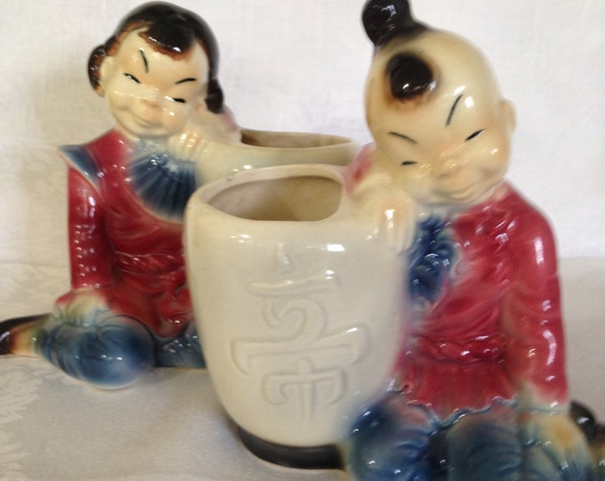 Set/2 Vintage Royal Copley Planters Oriental Girl and Boy