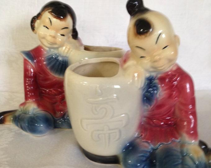 Set/2 Vintage Royal Copley Planters Oriental Girl and Boy