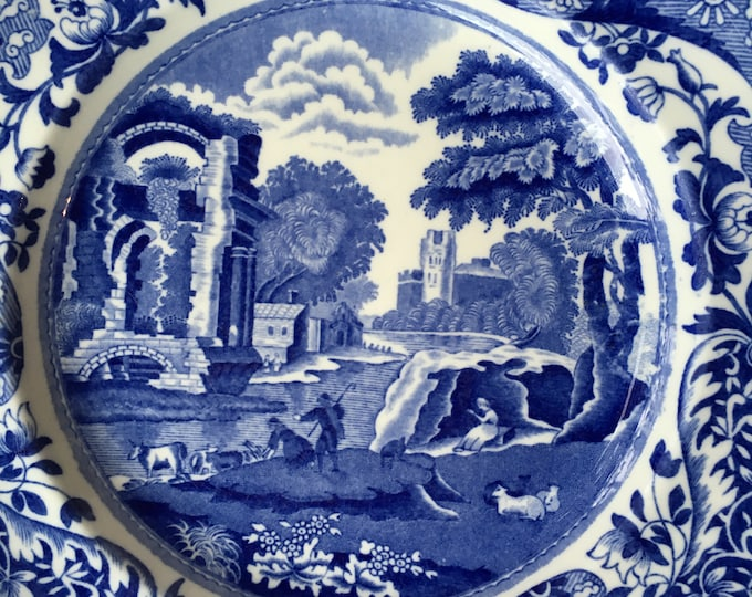 "Set/2 Copeland Spode's Italian Blue And White 9"" Plates"
