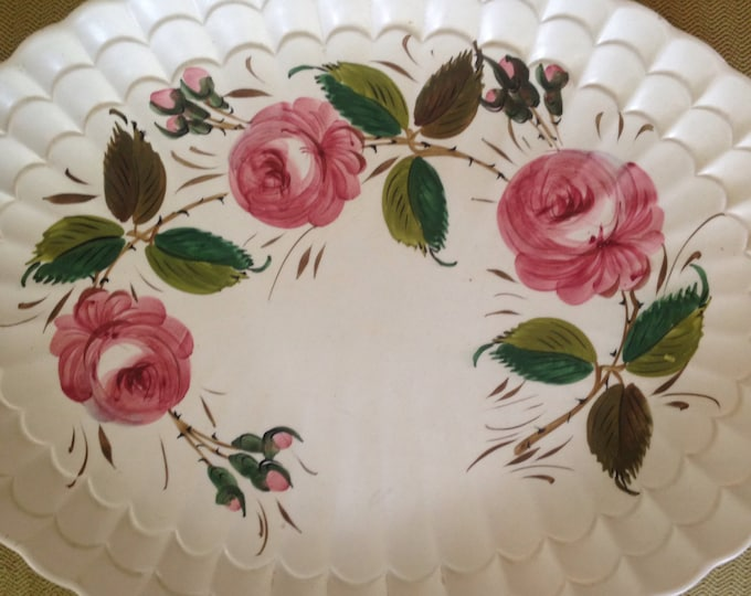 Hand Painted Rose Italian Platter Artist Limited Edition