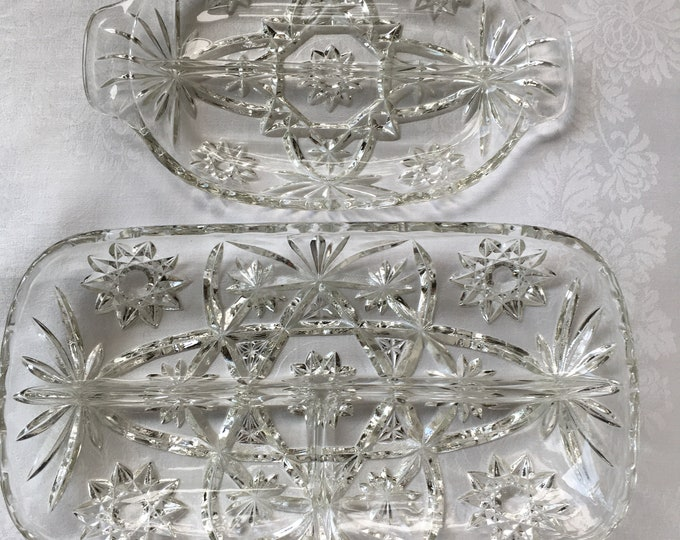 2 Piece Star of David Divided Relish and 3 Part Hostess Tray Anchor Hocking EAPC