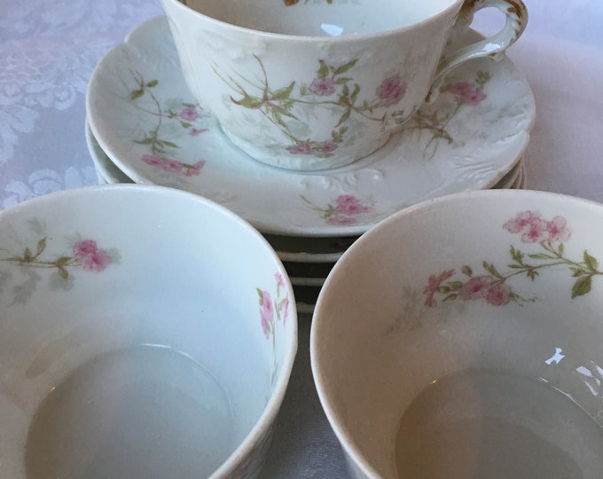 Set/3 Haviland Limoge Pink Floral Tea Cups and Saucers Made in France GH Field