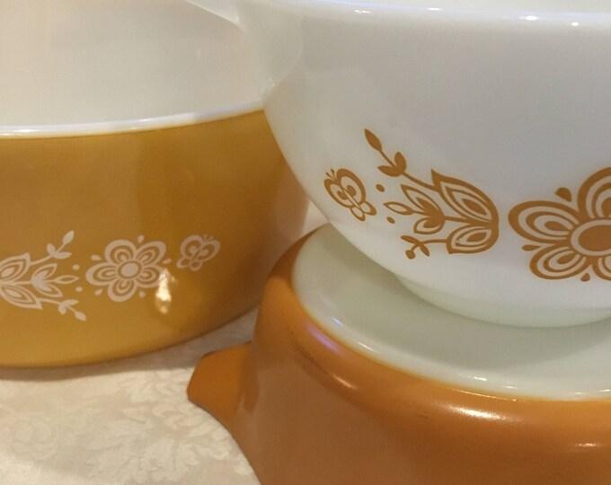 3 Piece Pyrex Butterfly Gold Assortment