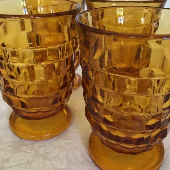 Set/4 Amber Indiana Glass Whitehall Juice Glasses Cube Pattern