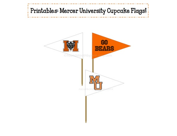 MERCER UNIVERSITY Printable: Cupcake Flags! College snack dessert picks  toppers diy tailgate decor party supplies graduation