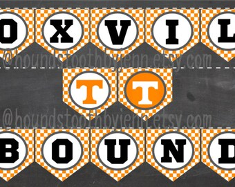 KNOXVILLE BOUND Pennant Printable! Orange White Checkerboard UT University of Tennessee Banner tailgate supplies diy party decor