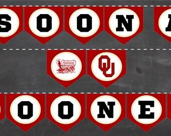 OKLAHOMA SOONERS Printable Banner! Norman Bound & Soon A Sooner Oklahoma University OU diy pennants college bound graduation party