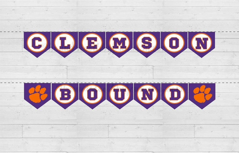 picture about College Pennants Printable named CLEMSON Sure Printable Banner! Clemson College or university Do-it-yourself pennants for large college or university school sure commencement celebration