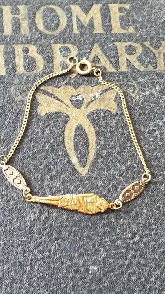 Beautiful vintage Egyptian Revival brass chain bra