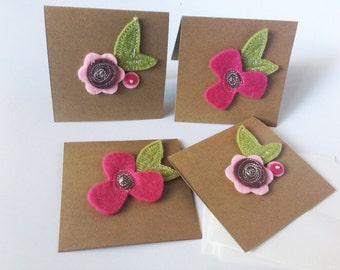Mini Felt Flower Note Cards