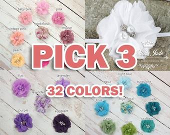 YOU PICK 3 Baby Headband Set, Chiffon Flower Newborn Headband Set, Flower Headband Set, New Baby Gift, Baby Girl Gift, Girl Headband Set