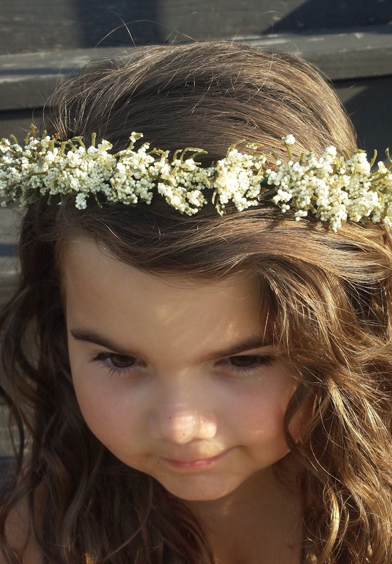 Off White Flower Crown Headband Girl's or Women Flower image 0
