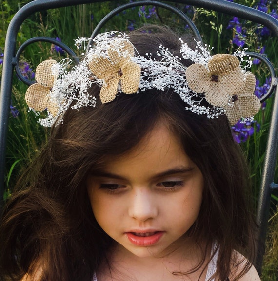 Children s Beige Flower Crown Rustic Flower Girl Headband  37a08c2ae92