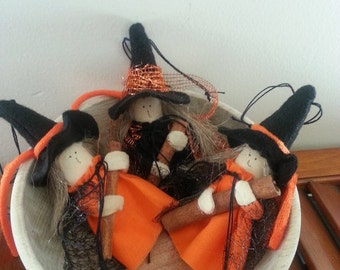 Primitive Halloween Witch Bowl Fillers Or Ornies