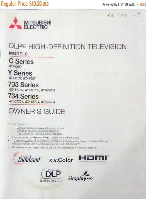 on sale mitsubishi dlp high definition tv owner s manual rh etsy com