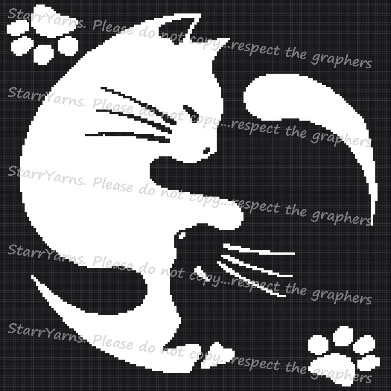 Yin Yang Cats Crochet Graph Pattern Etsy