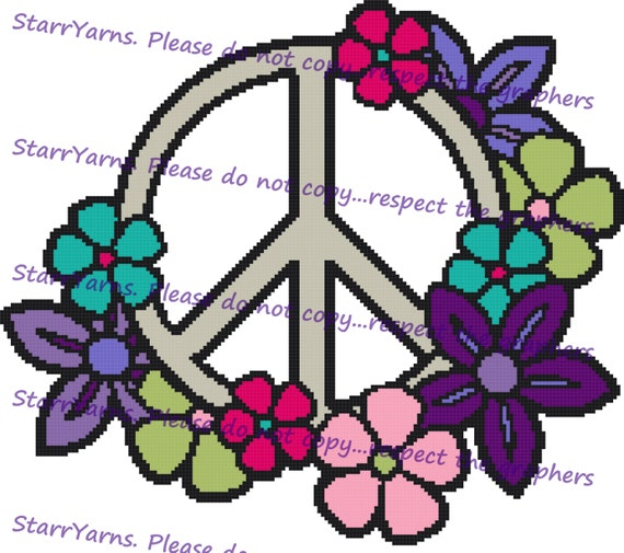 Floral Peace Sign Crochet Graph Pattern Etsy