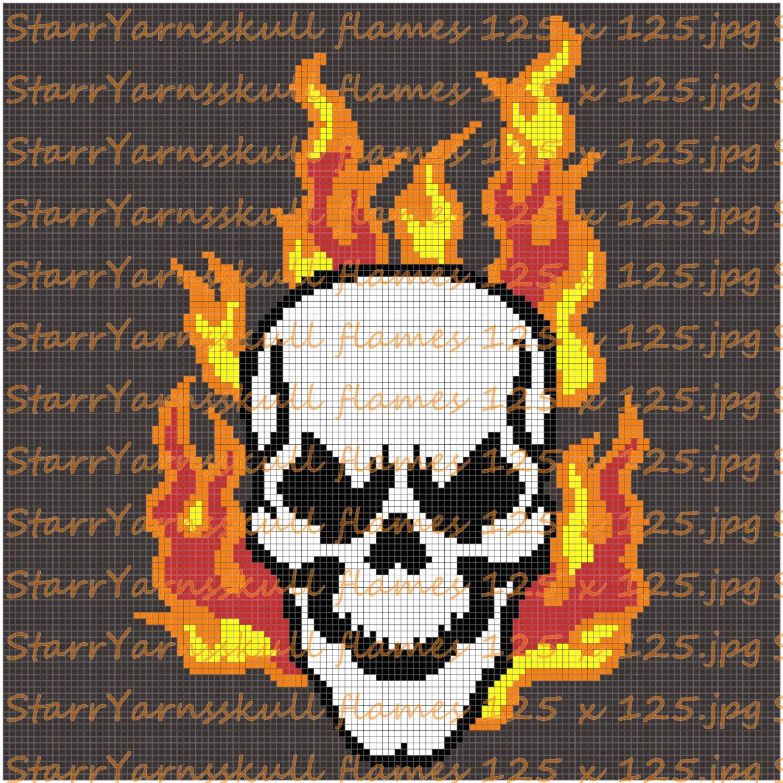 Flame Skull Crochet Graph Pattern Etsy