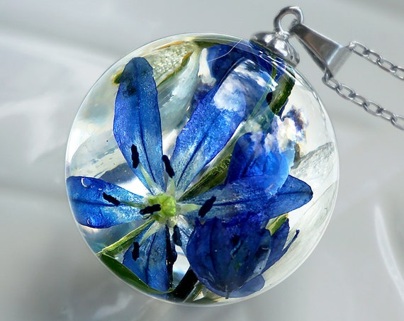 Botanical necklace with Real Muscari, Scilla and Snowdrops flowers.