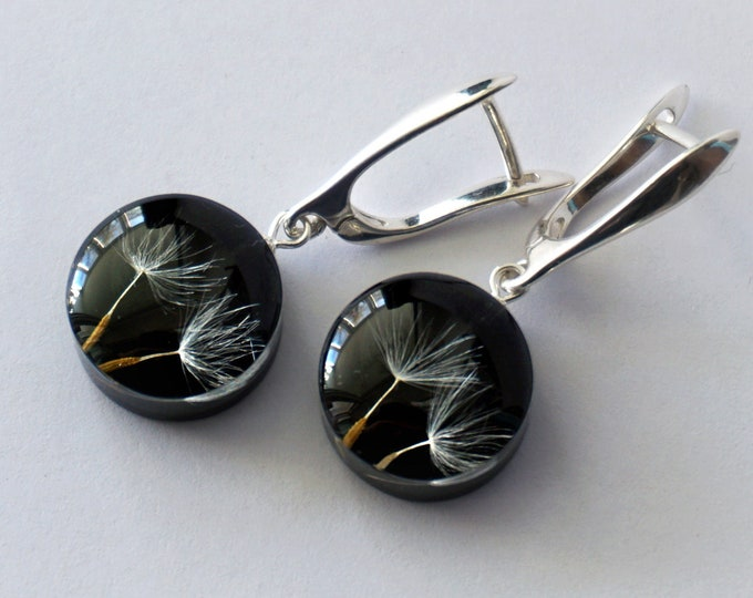 Sterling silver Dandelion Seed Earrings. Botanical black resin earrings. Real flower earrings. Symbolic jewelry