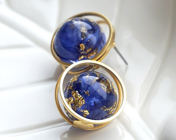 Gold plated stud Earrings with Cornflower petals and pieces of gold leaf. Resin sphere Earrings.