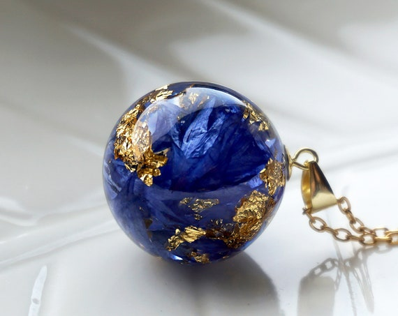 Real Cornflower Necklace. Small Resin Sphere Botanical Pendant with Real Cornflower petals and gold leaf. Symbolic jewelry